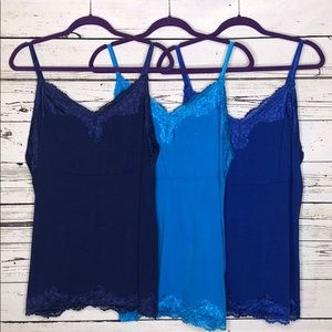 Lot of 3 Lane Bryant 18/20W Shades of Blue Cami